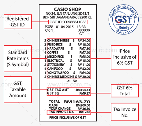 IRC GST Receipt Sample
