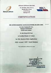 SQL Accounting System Certification by E-Stream Software