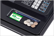 A multipurpose tray helps keep the cash register area neat and tidy.